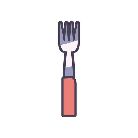 fork line and fill style icon design, kitchen cook eat food restaurant home menu dinner lunch cooking and meal theme Vector illustration
