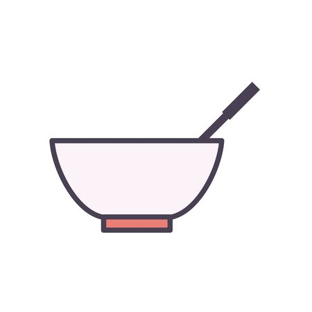 bowl line and fill style icon design, kitchen cook eat food restaurant home menu dinner lunch cooking and meal theme Vector illustration Ilustracja