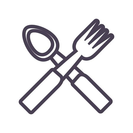 spoon and fork gradient style icon design, kitchen cook eat food restaurant home menu dinner lunch cooking and meal theme Vector illustration Ilustracja