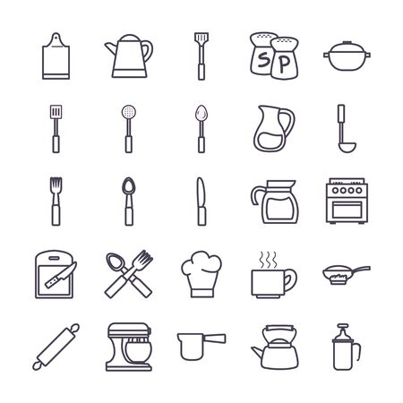 gradient style icon set design, kitchen cook eat food restaurant home menu dinner lunch cooking and meal theme Vector illustration