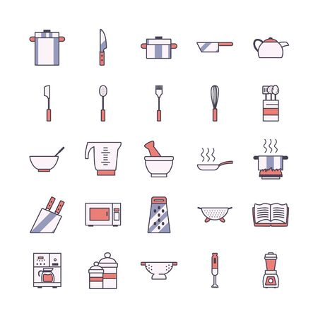 line and fill style icon set design, kitchen cook eat food restaurant home menu dinner lunch cooking and meal theme Vector illustration