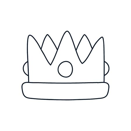 king crown icon over white background, minimalist tattoo concept, line style, vector illustration