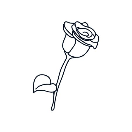 rose icon over white background, minimalist tattoo concept, line style, vector illustration