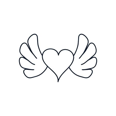 heart with wings icon over white background, minimalist tattoo concept, line style, vector illustration