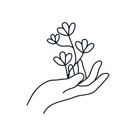 delicate hand with leaves icon over white background, minimalist tattoo concept, line style, vector illustration
