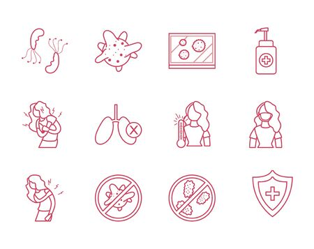 antibacterial gel bottle and Covid19 concept icon set over white background, line style, vector illustration Illustration