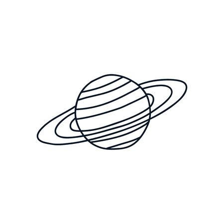 saturn planet icon over white background, minimalist tattoo concept, line style, vector illustration