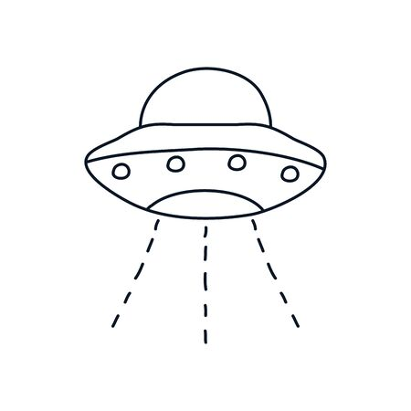 flying saucer icon over white background, minimalist tattoo concept, line style, vector illustration