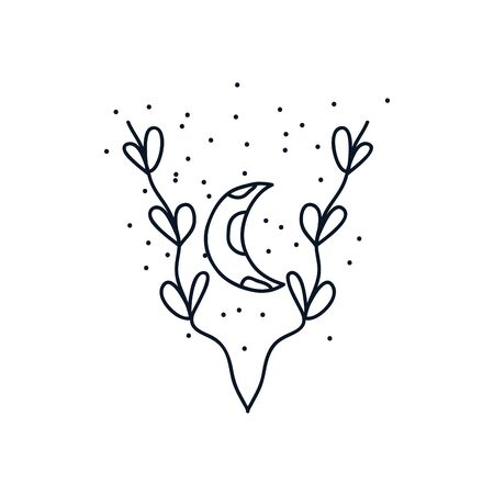 leaves and moon icon over white background, minimalist tattoo concept, line block style, vector illustration Ilustracja
