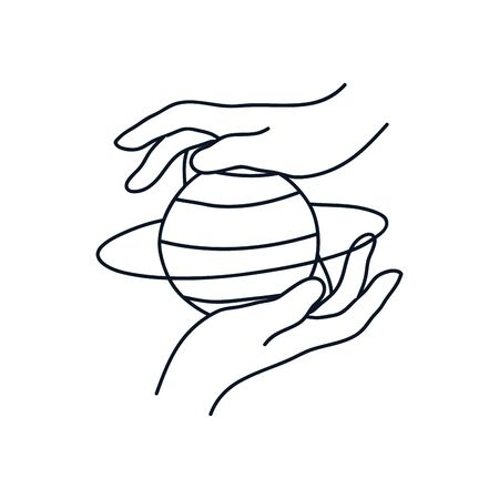 delicate hands with saturn planet icon over white background, minimalist tattoo concept, line style, vector illustration Ilustracja