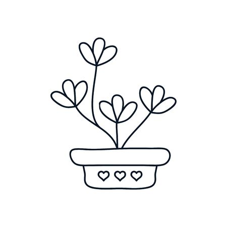 cute plant in a pot icon over white background, minimalist tattoo concept, line style, vector illustration Ilustracja