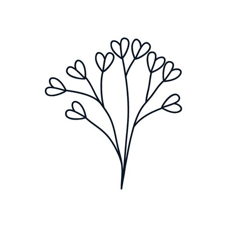cute branch with hearts leaves icon over white background, minimalist tattoo concept, line style, vector illustration
