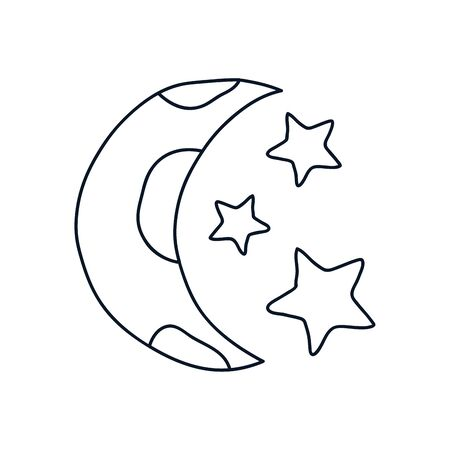 moon and stars icon over white background, minimalist tattoo concept, line style, vector illustration