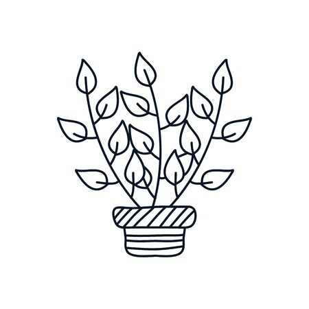 plant in a pot icon over white background, minimalist tattoo concept, line style, vector illustration