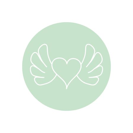 heart with wings icon over white background, minimalist tattoo concept, line block style, vector illustration Stockfoto - 142687968