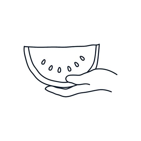 hand holding a watermelon icon over white background, minimalist tattoo concept, line style, vector illustration Ilustracja