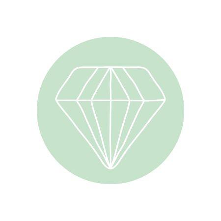 diamond gem icon over white background, minimalist tattoo concept, line block style, vector illustration Ilustracja