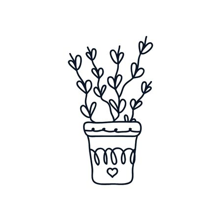cute plant with leaves in a pot icon over white background, minimalist tattoo concept, line style, vector illustration