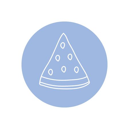 watermelon piece icon over white background, minimalist tattoo concept, line block style, vector illustration Ilustracja