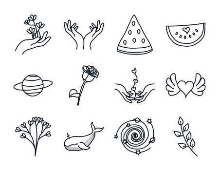 delicate hands and minimalist tattoo concept icon set over white background, line style, vector illustration
