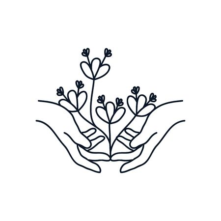 delicate hands with beautiful flowers icon over white background, minimalist tattoo concept, line style, vector illustration