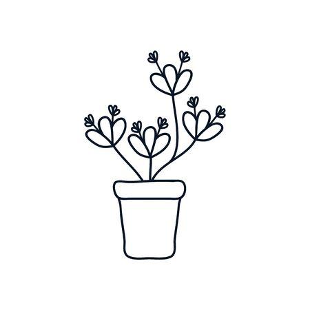 beautiful plant icon over white background, minimalist tattoo concept, line style, vector illustration Ilustracja