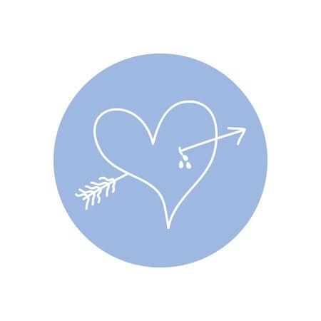 arrowed heart icon over white background, minimalist tattoo concept, line block style, vector illustration Ilustracja
