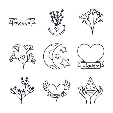 leaves and minimalist tattoo icon set over white background, line style, vector illustration