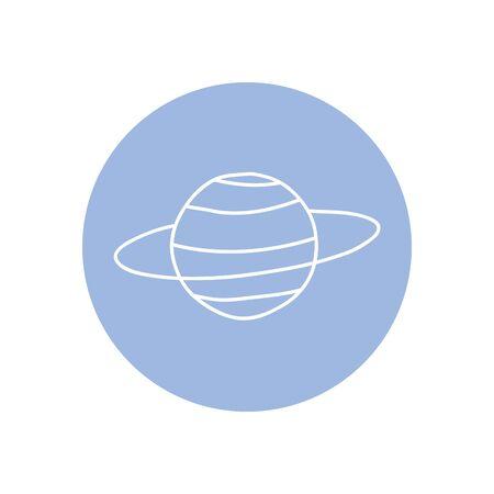 neptune planet icon over white background, minimalist tattoo concept, line block style, vector illustration