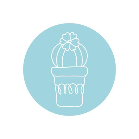cactus in a pot icon over white background, minimalist tattoo concept, line block style, vector illustration