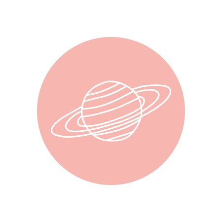 saturn planet icon over white background, minimalist tattoo concept, line block style, vector illustration