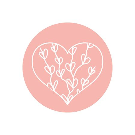heart with branches with leaves icon over white background, minimalist tattoo concept, line block style, vector illustration