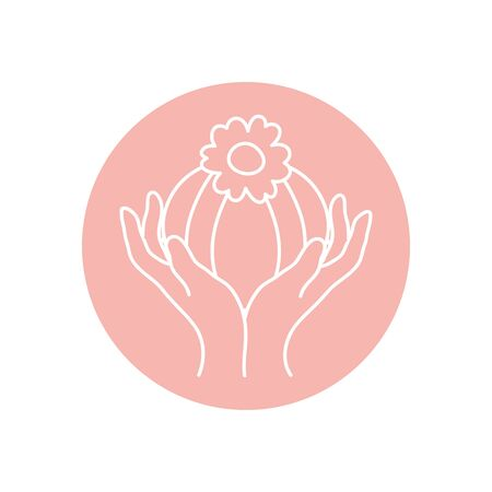 delicate hands with beautiful flower icon over white background, minimalist tattoo concept, line block style, vector illustration