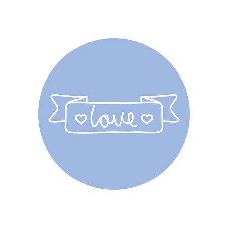 decorative ribbon with love word icon over white background, minimalist tattoo concept, line block style, vector illustration Ilustracja