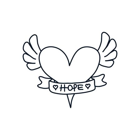 heart with wings and ribbon icon over white background, minimalist tattoo concept, line style, vector illustration