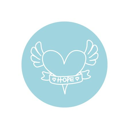 heart with wings and ribbon icon over white background, minimalist tattoo concept, line block style, vector illustration