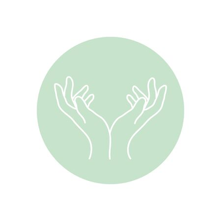 delicate opened hands icon over white background, minimalist tattoo concept, line block style, vector illustration Ilustracja