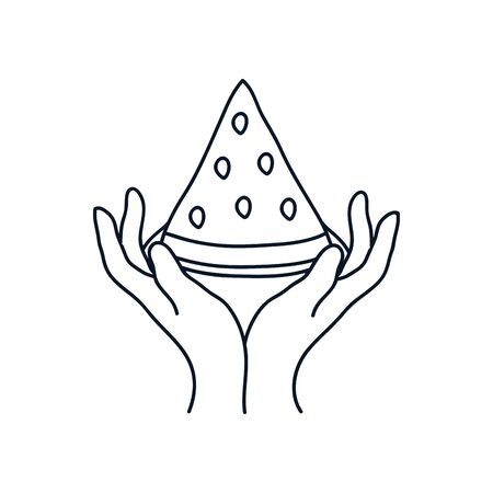 delicate hands with watermelon icon over white background, minimalist tattoo concept, line block style, vector illustration