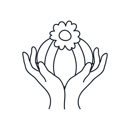 delicate hands with beautiful flower icon over white background, minimalist tattoo concept, line style, vector illustration