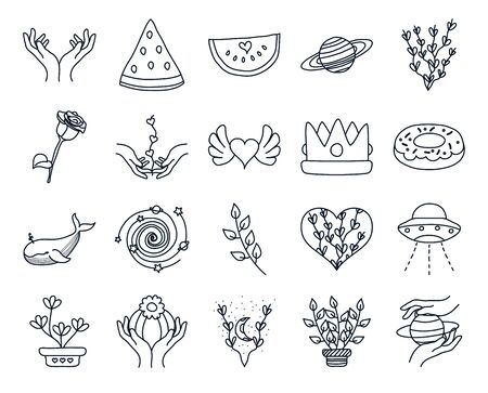hands and minimalist tattoo icon set over white background, line style, vector illustration