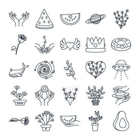 flying saucer and minimalist tattoo icon set over white background, line style, vector illustration