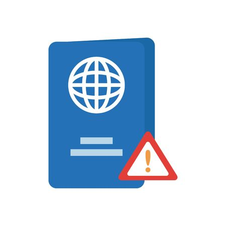 passport and warning sign icon over white background, line style, vector illustration Vectores