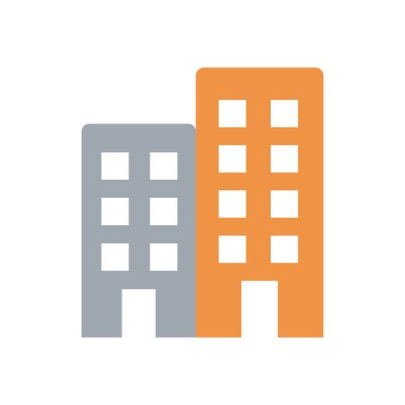 city buildings icon over white background, flat style, vector illustration Vettoriali