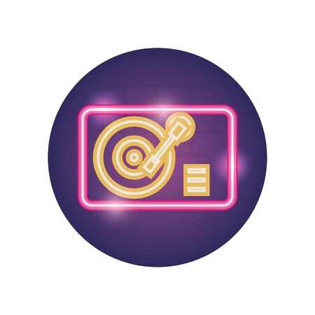 turntable neon style icon design, Music sound melody song musical art and composition theme Vector illustration
