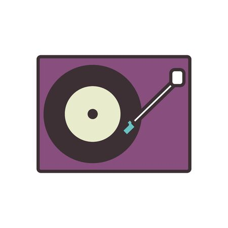 retro turntable line fill style icon design, Music sound melody song musical art and composition theme Vector illustration