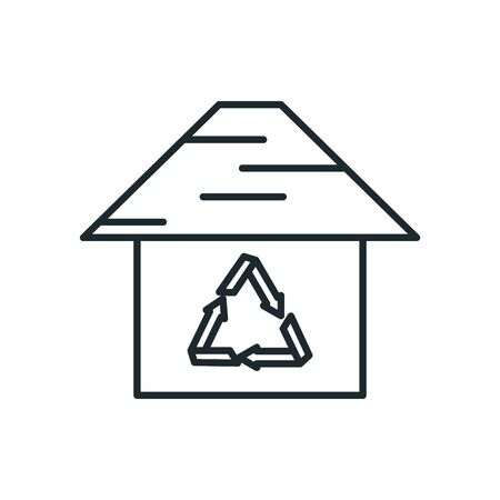 house with recycle symbol inside line style icon design, Ecology eco save green natural organic environment protection and care theme Vector illustration Illustration