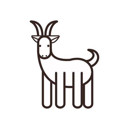 Cute goat cartoon line style icon design, Animal zoo life nature character childhood and adorable theme Vector illustration
