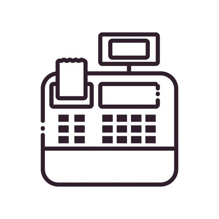 cash register line style icon of money financial item banking commerce market payment buy currency accounting and invest theme Vector illustration Vektorgrafik