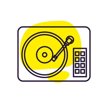 turntable line style icon design, Music sound melody song musical art and composition theme Vector illustration 向量圖像