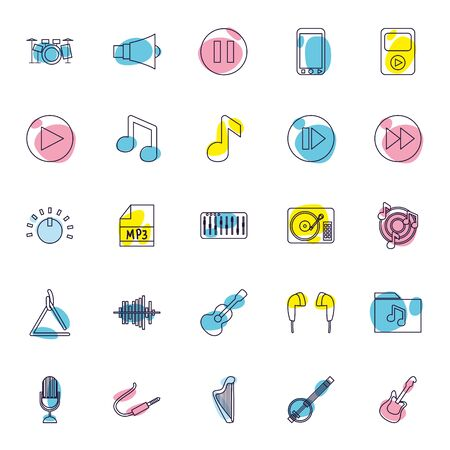 line style icon set design, Music sound melody song musical art and composition theme Vector illustration 向量圖像